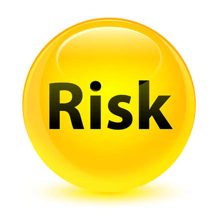 Risk isolated on glassy yellow round button abstract illustration
