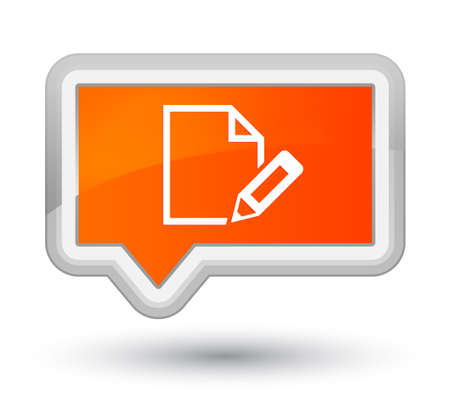 Edit document icon isolated on prime orange banner button abstract illustration