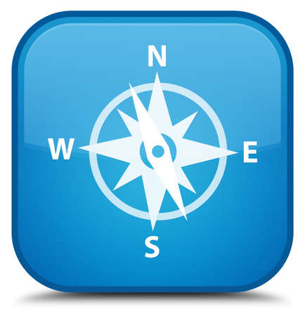 Compass icon isolated on special cyan blue square button abstract illustration