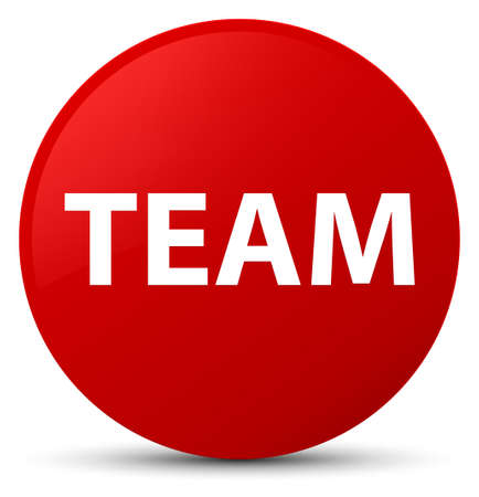troupe: Team isolated on red round button abstract illustration