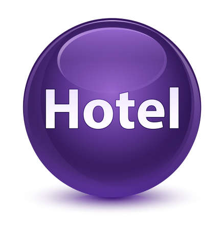 Hotel isolated on glassy purple round button abstract illustration