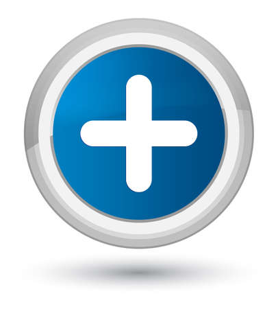 Plus icon isolated on prime blue round button abstract illustration Stock Photo