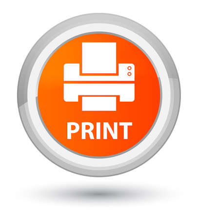 Print (printer icon) isolated on prime orange round button abstract illustration