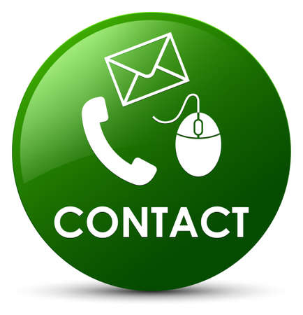 email icon: Contact (phone email and mouse icon) green isolated on round button abstract illustration