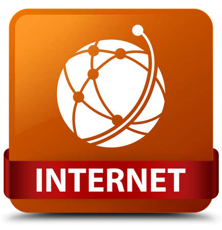 Internet (global network icon) isolated on brown square button with red ribbon in middle abstract illustration