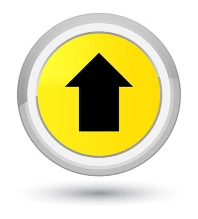 Upload arrow icon isolated on prime yellow round button abstract illustration