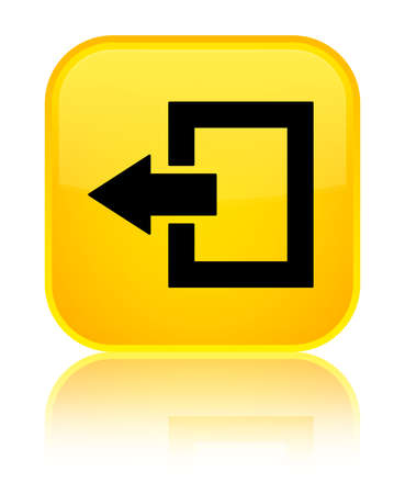 Logout icon isolated on special yellow square button reflected abstract illustration