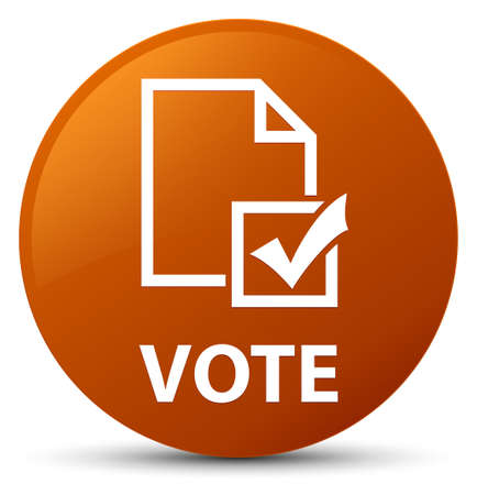Vote (survey icon) isolated on brown round button abstract illustration