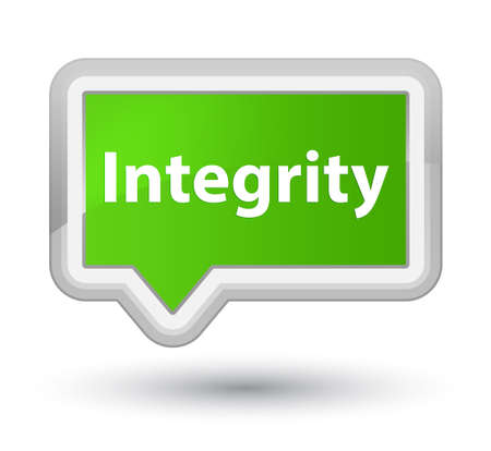 Integrity isolated on prime soft green banner button abstract illustration Stock Photo