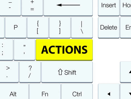 Actions isolated on yellow keyboard button abstract illustration Stok Fotoğraf