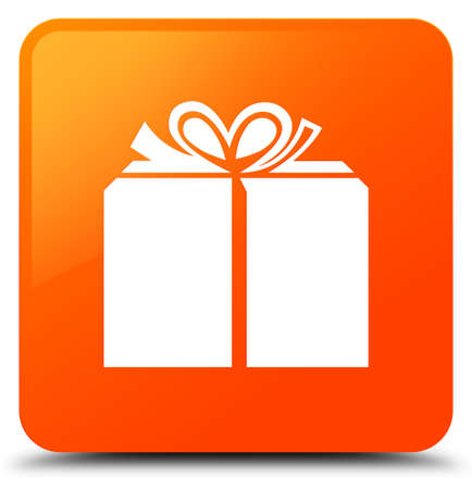 Gift box icon isolated on orange square button abstract illustration
