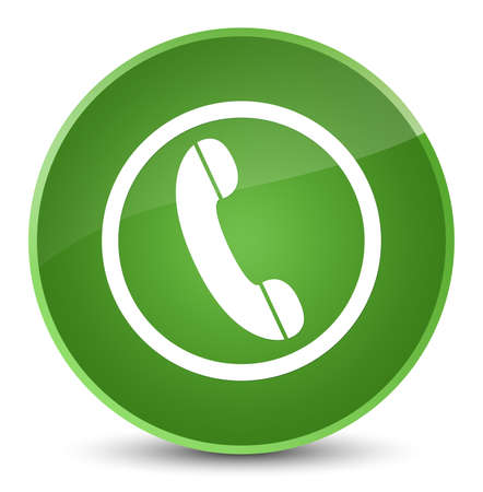 Phone icon isolated on elegant soft green round button abstract illustration