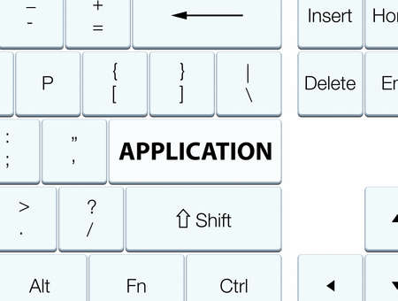 Application isolated on white keyboard button abstract illustration