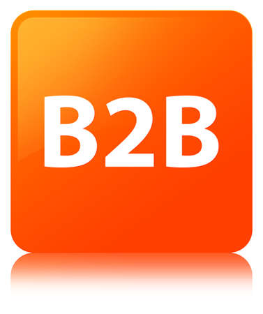 B2b isolated on orange square button reflected abstract illustration Stock Photo