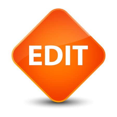 Edit isolated on elegant orange diamond button abstract illustration