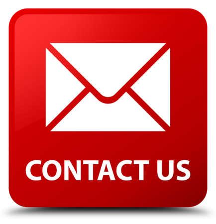 Treten Sie mit uns (E-Mail-Ikone) in Verbindung, die auf abstrakter Illustration des Knopfes des roten Quadrats lokalisiert wird Standard-Bild - 89427621