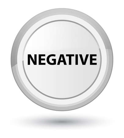 Negative isolated on prime white round button abstract illustration
