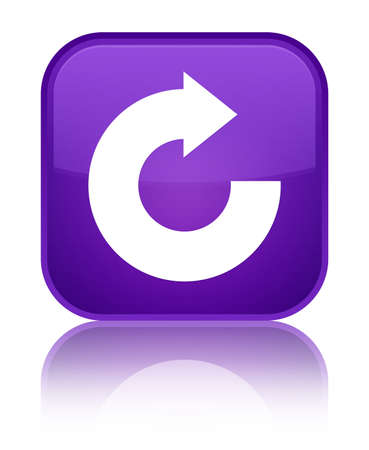 Reply arrow icon isolated on special purple square button reflected abstract illustration
