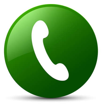 Phone icon isolated on green round button abstract illustration Stock Photo
