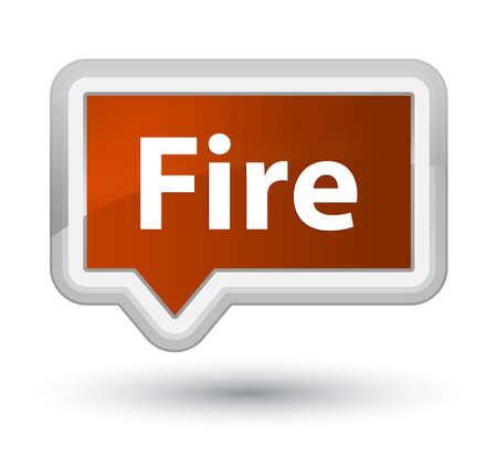 プライムブラウンのバナーボタンの抽象的なイラストに孤立した火