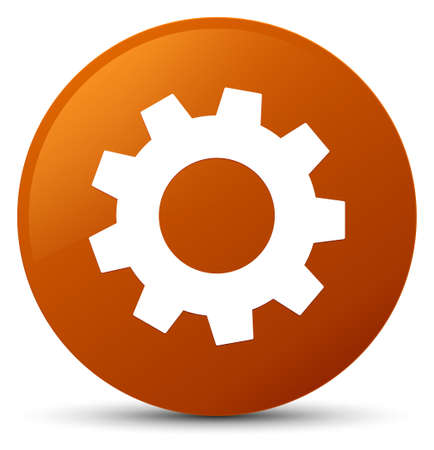 cogwheel: Process icon isolated on brown round button abstract illustration Stock Photo