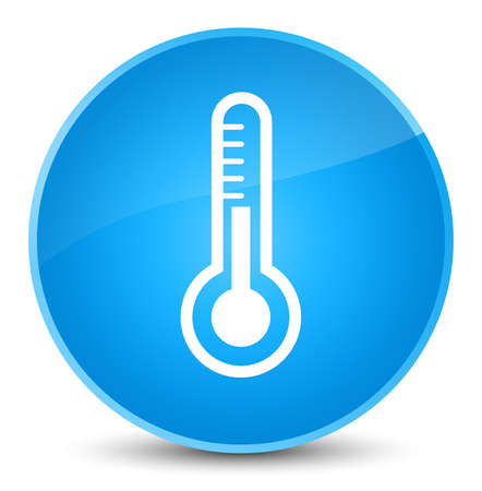 termometro: Thermometer icon isolated on elegant cyan blue round button abstract illustration