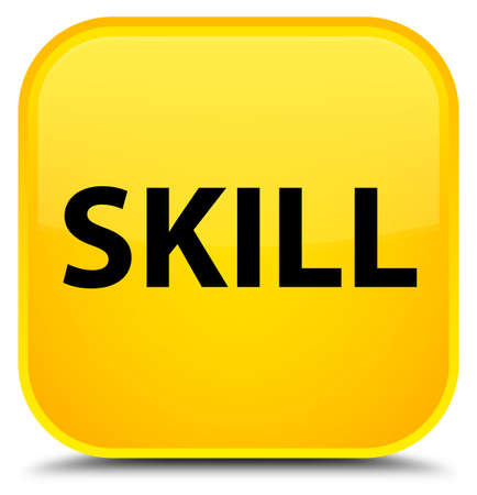 Skill isolated on special yellow square button abstract illustration