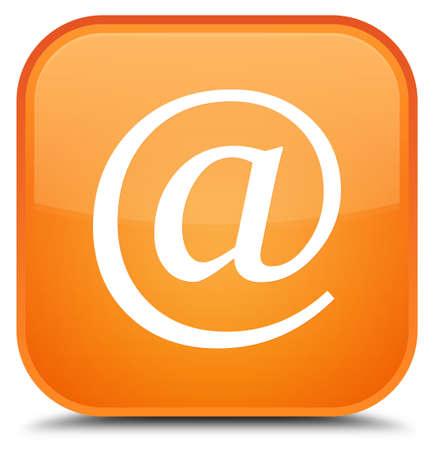 E-mail adrespictogram op speciale oranje vierkante knoop abstracte illustratie die wordt geïsoleerd