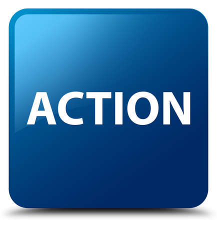 Action isolated on blue square button abstract illustration