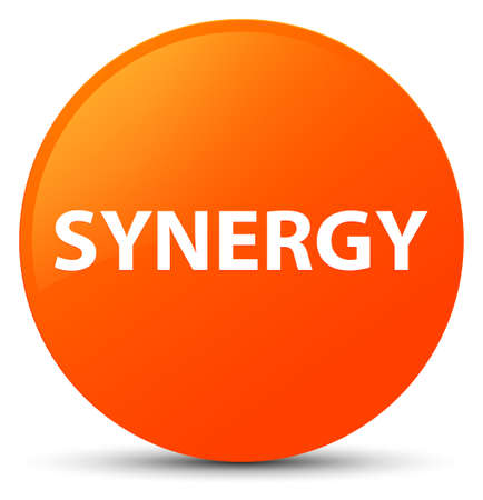 Synergy isolated on orange round button abstract illustration