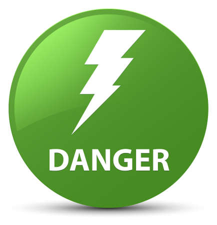 voltage sign: Danger (electricity icon) isolated on soft green round button abstract illustration