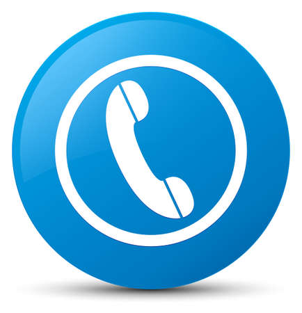 Phone icon isolated on cyan blue round button abstract illustration