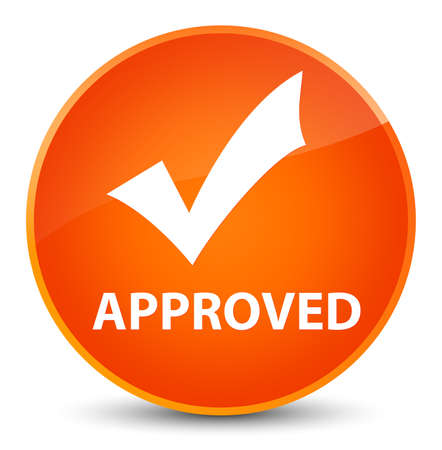 Approved (validate icon) isolated on elegant orange round button abstract illustration Stock Photo