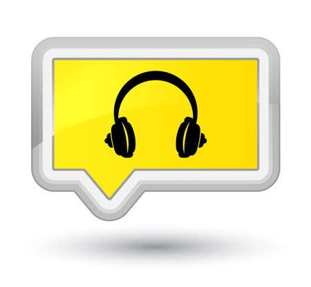 プライム黄色のバナーボタンに分離されたヘッドホンのアイコン抽象的なイラスト 写真素材