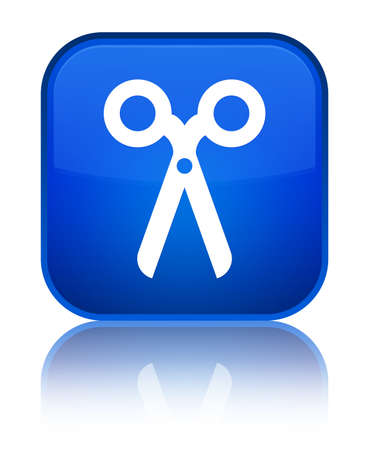 Scissors icon isolated on special blue square button reflected abstract illustration