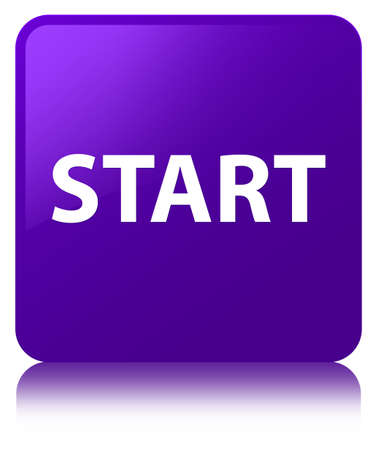 Start isolated on purple square button reflected abstract illustration Stock Photo