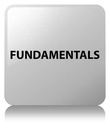 Fundamentals isolated on white square button reflected abstract illustration