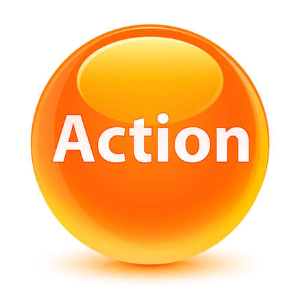 Action isolated on glassy orange round button abstract illustration Фото со стока
