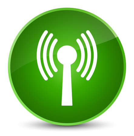 Wlan network icon isolated on elegant green round button abstract illustration