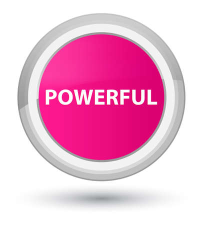 Powerful isolated on prime pink round button abstract illustration