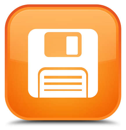 Floppy disk icon isolated on special orange square button abstract illustration Stock Photo