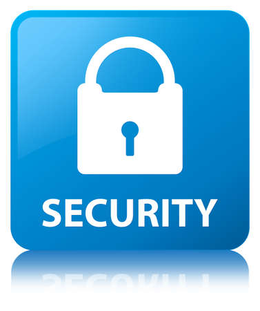 Security (padlock icon) isolated on cyan blue square button reflected abstract illustration