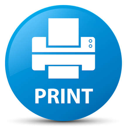 Print (printer icon) isolated on cyan blue round button abstract illustration Stock Photo