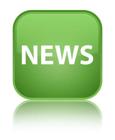 News isolated on special soft green square button reflected abstract illustration Stock Photo
