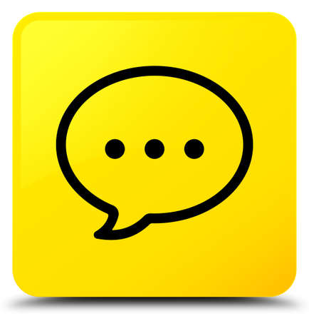 Talk bubble icon isolated on yellow square button abstract illustration