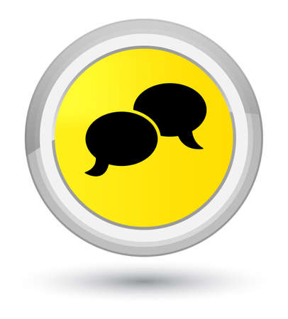 Chat bubble icon isolated on prime yellow round button abstract illustration