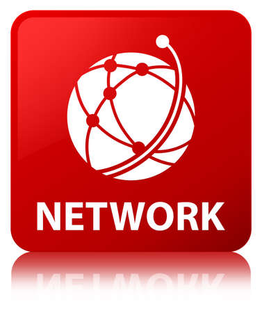 Network (global network icon) isolated on red square button reflected abstract illustration