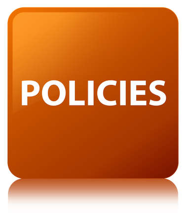 Policies isolated on brown square button reflected abstract illustration
