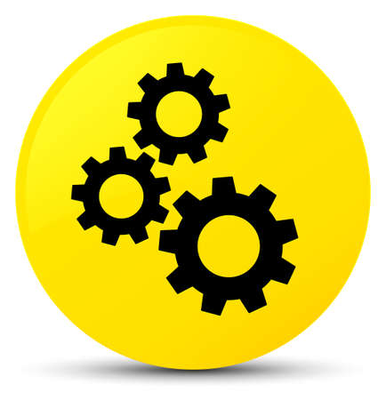 Gears icon isolated on yellow round button abstract illustration