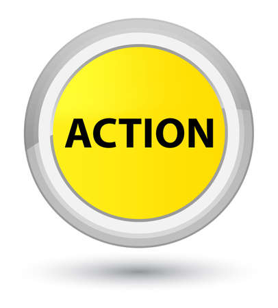Action isolated on prime yellow round button abstract illustration